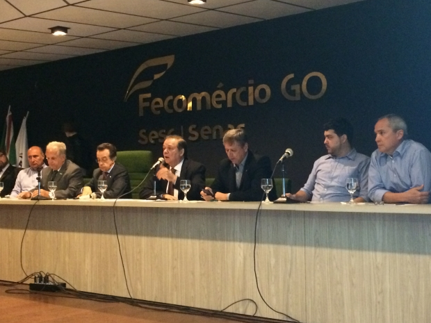 Deputado federal Jovair Arantes (PTB), durante encontro com empresários na sede da Fecomércio | Larissa Quixabeira / Jornal Opção