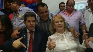 Vereador Felisberto Tavares, delegado Waldir e deputada Magda Mofatto durante cerimônia de filiação | Foto: Larissa Quixabeira/Jornal Opção