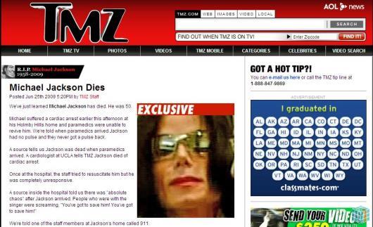 Logo após informações truncadas na rede social, site TMZ informava sobre a morte do cantor