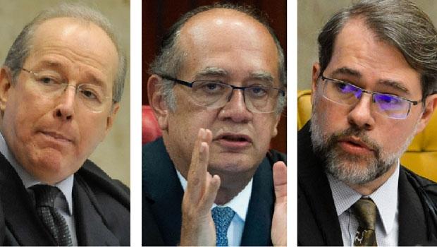 Celso de Mello, Gilmar Mendes e Dias Toffoli: ministros do STF criticam a presidente Dilma por não reconhecer a correção do processo de impeachment
