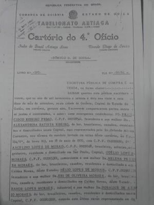 Compra da Fazenda Mutirama em 1972 registrada em cartório