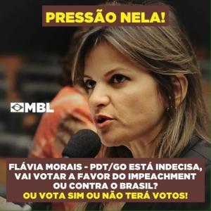 Pelas redes sociais, MBL Goiás incentiva pessoas a pressionarem a deputada federal goiana, única que não declarou como votará no pedido de abertura do processo de impeachment de Dilma | Imagem: Reprodução/Facebook