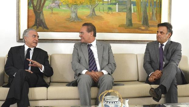 Renan Calheiros se reúne com Temer e Aécio em Brasília
