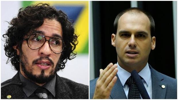 Deputados Jean Wyllys e Eduardo Bolsonaro   Reprodução/Câmara
