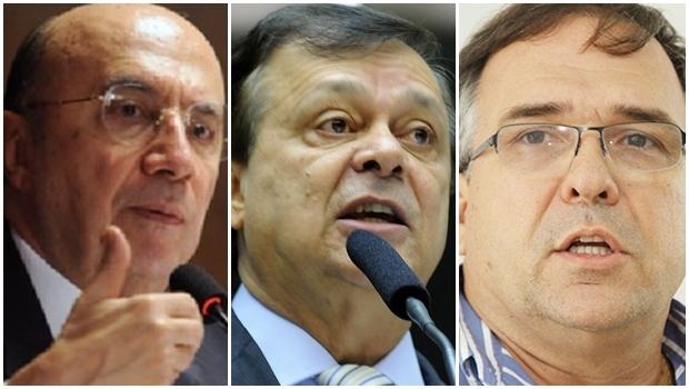 Na foto, Henrique Meirelles, Jovair Arantes e Sandro Mabel