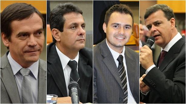 Segundo presidente metropolitano do PMDB, Bruno Peixoto, Paulo, Denício, Mizair e Paulo Borges deixaram partido por causa do rompimento com o PT   Fotos: Câmara dos Vereadores