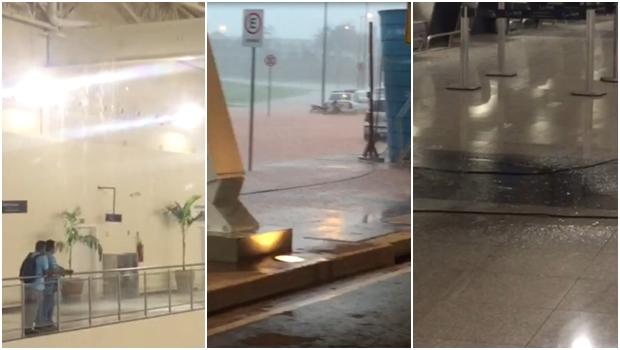 Vídeos compartilhados em aplicativos mostram momento em que a chuva atingiu estruturas do novo aerporto de Goiânia | Imagens: Reprodução/Vídeos