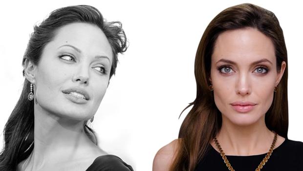 Angelina Jolie antes (à esq.) e depois da bichectomia. É possível ver que seu rosto ficou mais alongado após a cirurgia, alcançando o efeito esperado   Fotos: Fotos: Forbes
