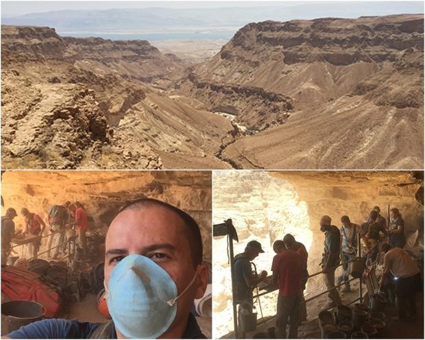Vale Terraço de Deus, na região do Mar Morto; abaixo, repórter Herbert Moraes e a equipe de arqueólogos israelenses em pleno trabalho | Fotos: Herbert Moraes