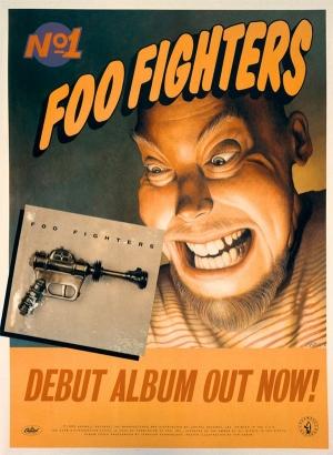 Material promocioanl que foi divulgado em 1995 para promover o lançamento do disco Foo Fighters | Foto: Divulgação