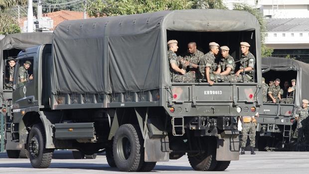 Força Nacional realiza treinamento para protestos da greve geral desta sexta (28/4)