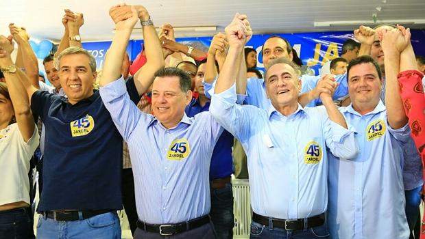 Governador e vice-governador participaram de convenção que oficializou candidatura de Jardel Sebba e Luciano Tampa