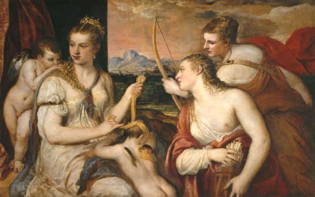 Vênus vendando o amor   Tiziano (Ticiano) Vacellio