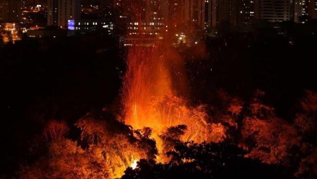 Fotos mostram Parque Areião em chamas. Confira