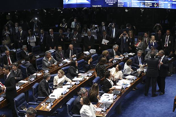 Sessão do Senado que torna Dilma ré no processo de impeachment: foram 59 votos contra 21 | Foto: Marcelo Camargo/Agência Brasil