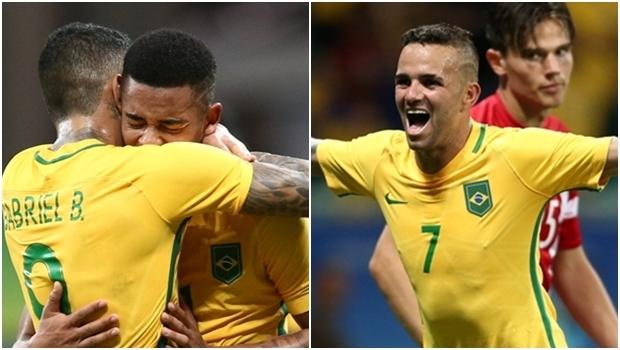 Gabriel Barbosa e Gabriel Jesus e Luan marcaram os gols da seleção olímpica do Brasil | Foto: reprodução / Twitter CBF