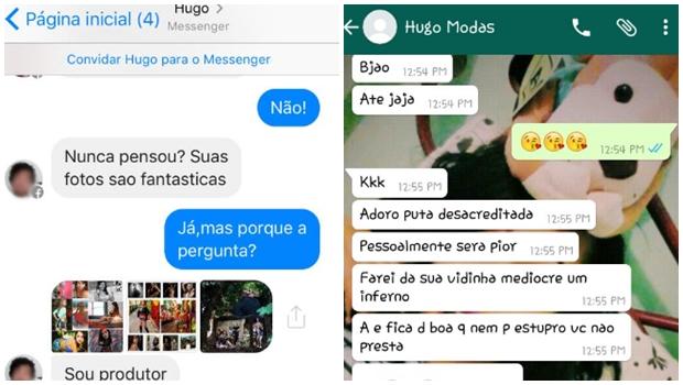 Duas publicações apontam que Hugo se passa por produtor de moda para conversar com garotas | Foto: Reprodução/Facebook