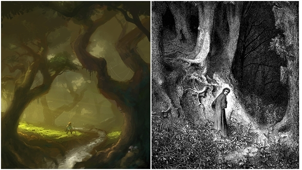 Do lado esquerdo, a Floresta das Trevas de Tolkien; do direito, a floresta escura de Dante: há semelhanças entre as funções das duas florestas nas obras dos autores   Fotos: Ilustração de Ven Locklear (esq.) e Ilustração de Gustave Doré (dir.)