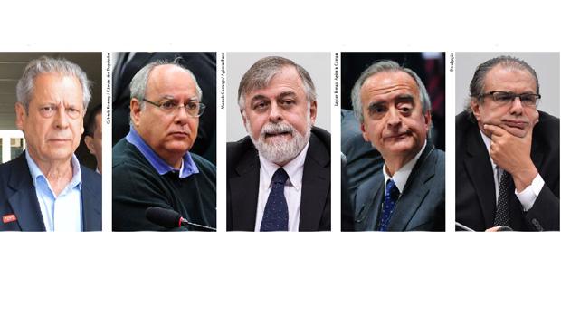José Dirceu, Renato Duque, Paulo Roberto Costa, Nestor Cerveró e Pedro Baruscco: o quinteto, aliado a diretores, políticos e empresários, contribuiu para uma espécie de privatização da Petrobrás