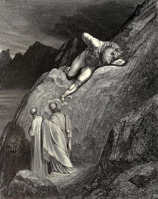 Ilustração mostra cena do Canto XII, quando Virgílio livra Dante das garras do Minotauro, que enfurecido morde a própria mão   Foto: Ilustração de Gustave Doré