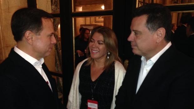 João Doria, Marconi Perillo e Valéria Perillo durante encontro empresarial em Buenos Aires | Foto: Divulgação
