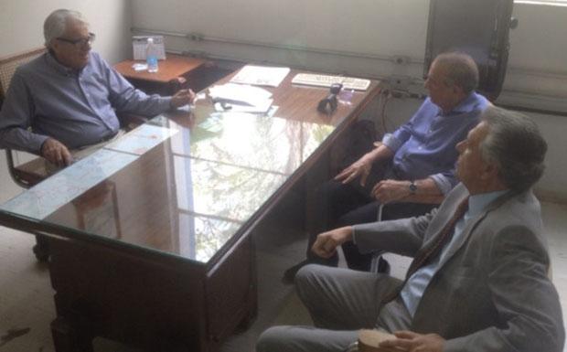 Batista Custódio, editor geral do Diário da Manhã, com o prefeito eleito de Goiânia, Iris Rezende, e com o senador Ronaldo Caiado