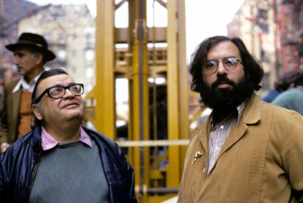 1974 --- Mario Puzo and Francis Coppola on the set of The Godfather Part II --- Image by © Corbis