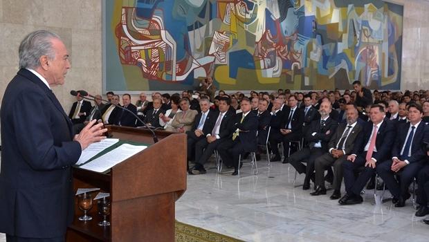 Governador durante discurso do presidente Temer, em Brasília | Foto: Eduardo Ferreira