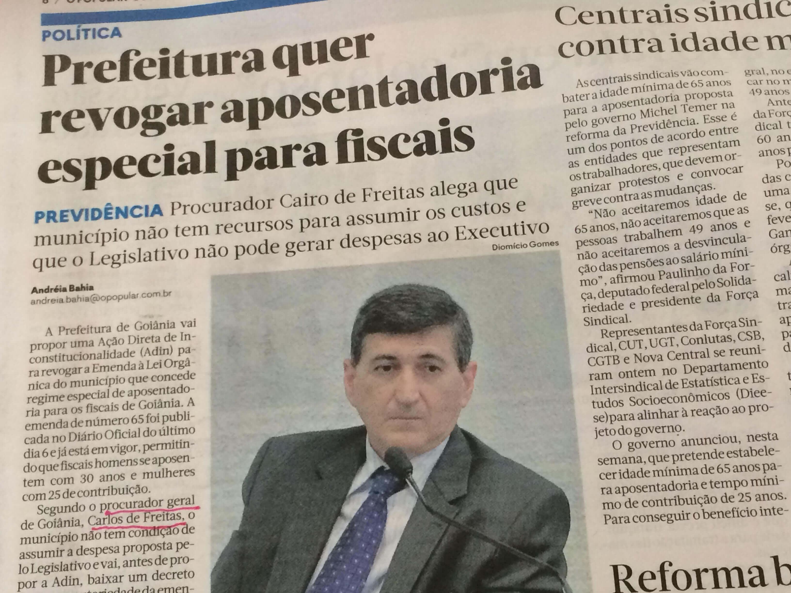 O Popular nomeia Cairo de Freitas e demite Carlos de Freitas da Procuradoria Geral da Prefeitura