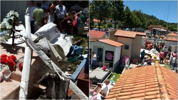 Avião de pequeno porte cai em cemitério e deixa um morto no Paraná