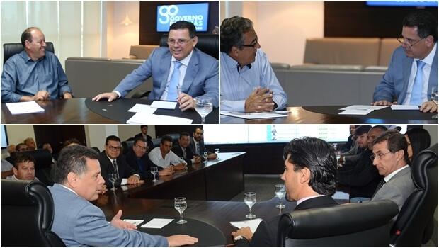 Marconi com os prefeitos de Anicuns, José Jorge de Souza (PSD); Firminópolis, Jorge José de Souza (PP) e de Hidrolândia, Paulo Sérgio de Rezende (DEM)