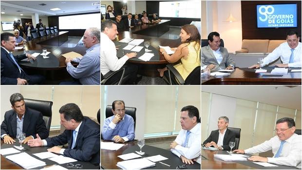 Marconi recebeu os prefeitos eleitos Paulo do Vale (PMDB), Patrícia Amaral Fernandes (PSDB), Delson José (PSDB), Josemar Saraiva (PSDB), José Luiz (PSDB) e André Chaves (PMDB) | Fotos: Lailson Damásio e Henrique Luiz