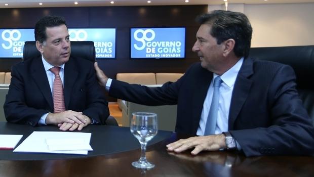 Marconi e Maguito durante encontro no Palácio | Foto: governo de Goiás