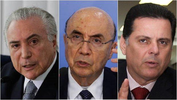 Michel Temer (presidente), Henrique Meirelles (ministro da Fazenda) e Marconi Perillo (governador de Goiás): o trio sabe que um Estado menor e menos inchado representa um certo alívio para a sociedade | Fotos: Reprodução