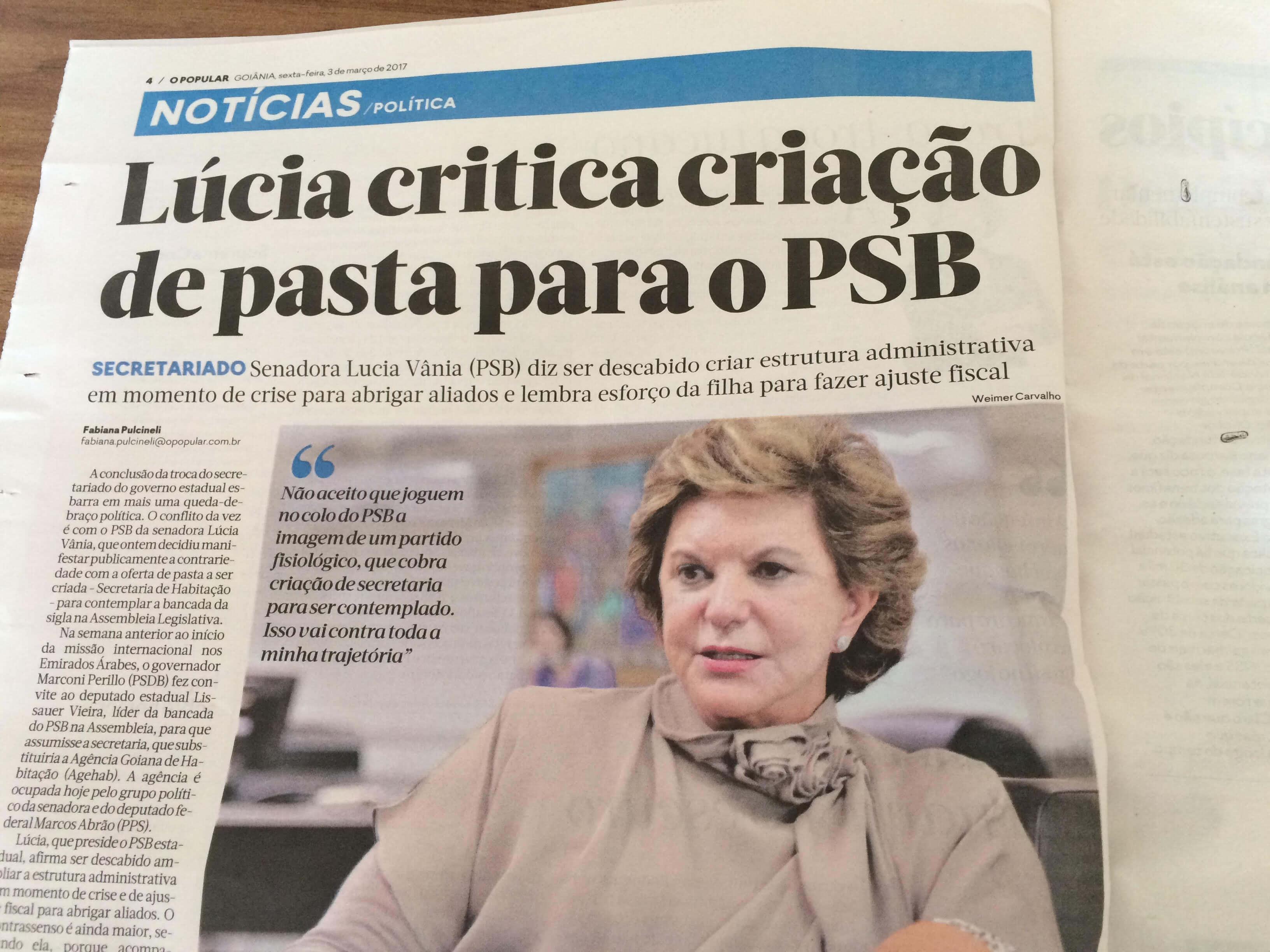 O Popular usa informações de entrevista de Lúcia Vânia mas não cita Rádio 730