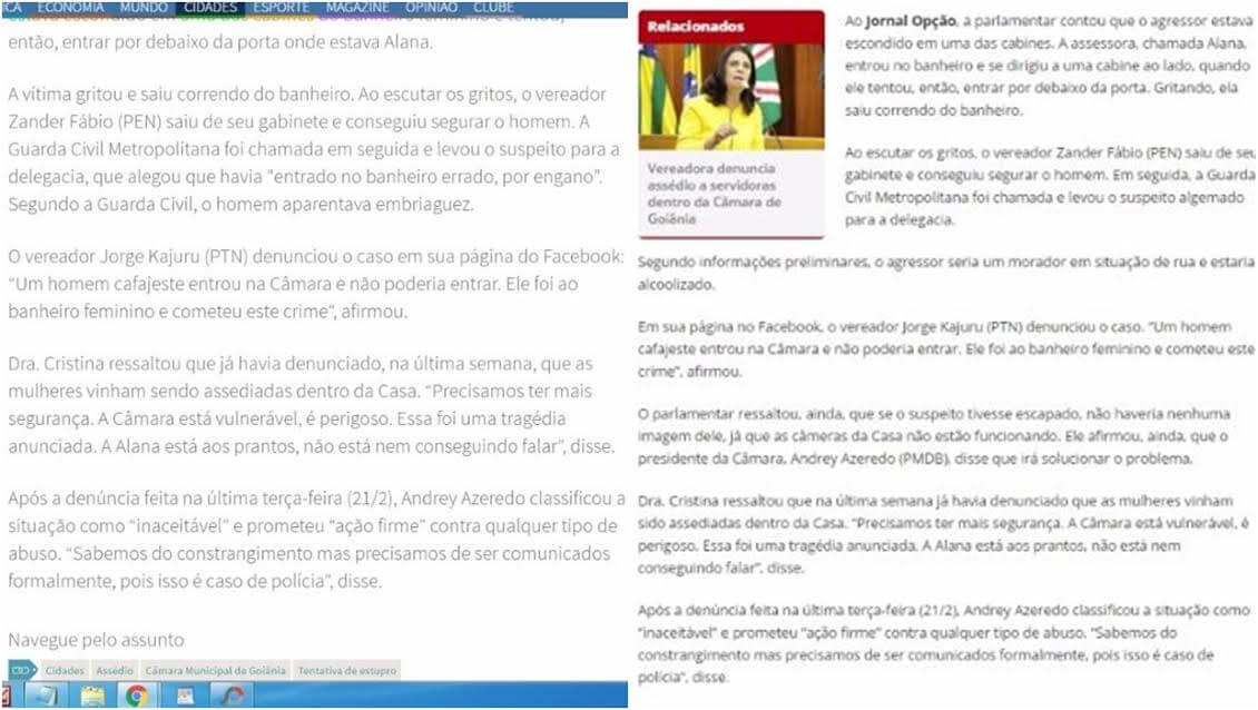 O Popular plagia reportagem do Jornal Opção a respeito de estupro na Câmara Municipal de Goiânia