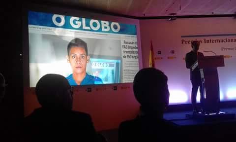 O jornalista goiano Vinicius Sassine, de O Globo, recebe o Prêmio Rei da Espanha de Jornalismo