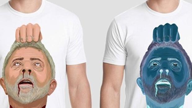 Loja causa polêmica ao anunciar venda de camiseta com imagem de Lula decapitado
