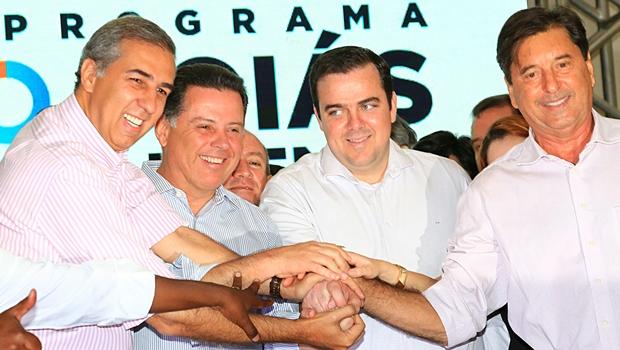 Ao lado de Maguito, Marconi e Gustavo Mendanha firmam parceria