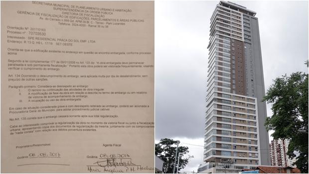 Comissão encontra documento de embargo dentro da obra de prédio irregular