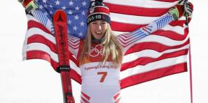 Mikaela Shiffrin, medalha de ouro nos jogos olímpicos de inverno, 2018.