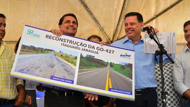 Marconi inaugura reconstrução de trecho de rodovia que liga Itaguaru a Jaraguá