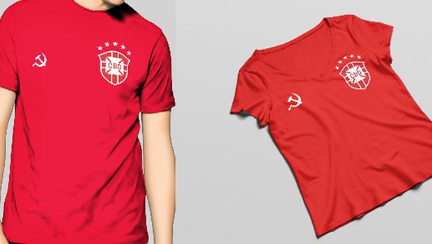 Designer cria camiseta da seleção para quem é de esquerda torcer na Copa