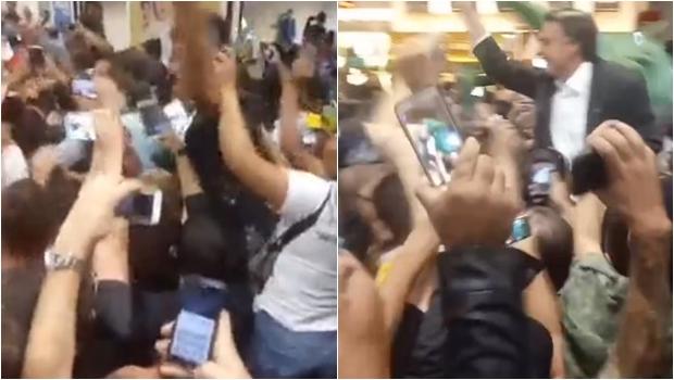Bolsonaro é ovacionado por multidão no aeroporto de Goiânia