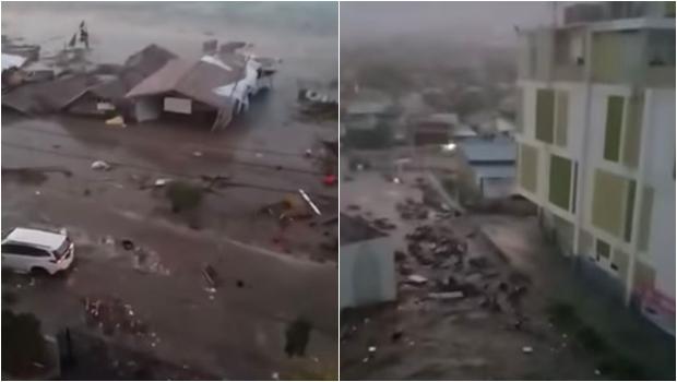 Vídeo chocante mostra tsunami atingindo cidade da Indonésia. Assista
