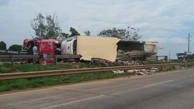 Caminhão de frango tomba e carga é saqueada em Anápolis