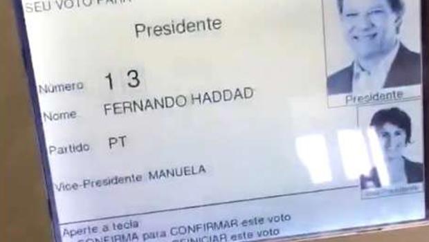 TRE-MG diz que é falso vídeo em que eleitor digita 1 na urna e aparece imagem de Haddad