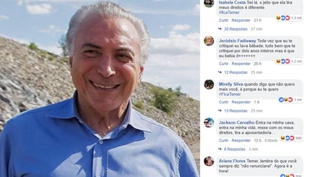 Novo queridinho das redes, Temer recebe súplicas de internautas para ficar na presidência