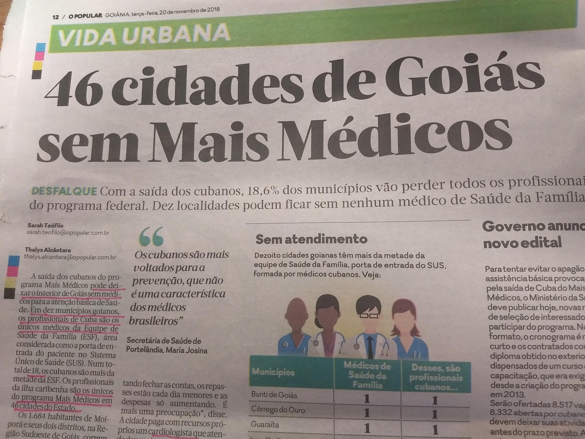 """O Popular não prova que """"o"""" interior ficará desassistido sem médicos cubanos"""