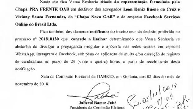 """Liminar determina retirada de vídeo irregular das redes sociais em ataque a chapa """"Pra Frente OAB"""""""